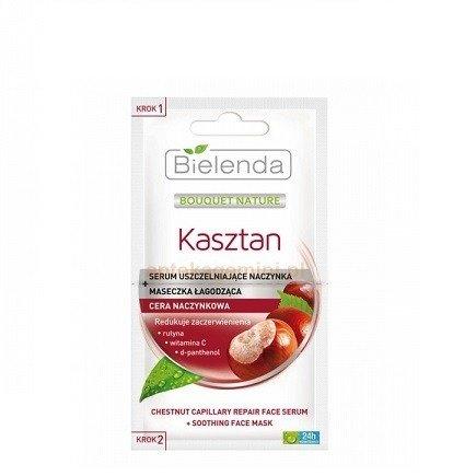 Bielenda - Kasztan - MASECZKA łagodząca + SERUM uszczelniające, do cery naczynkowej i z zaczerwienieniami, 2x5 g.