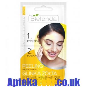Bielenda - Professional Formula - MASECZKA + PEELING drobnoziarnisty z glinką żółtą do cery dojrzałej, koktajlowe S.O.S. 2x5 g.