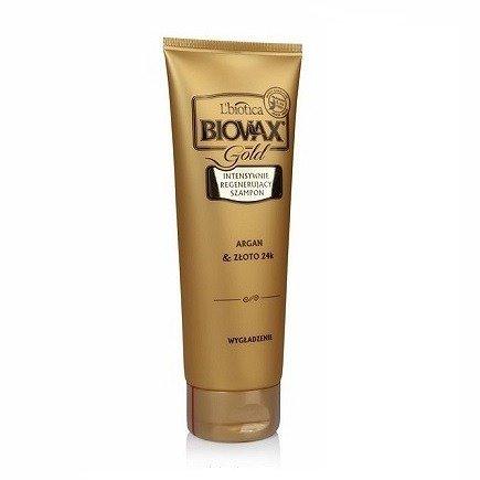 Biovax Glamour GOLD - SZAMPON intensywnie regenerujący do włosów z 24-karatowym złotem i olejkiem arganowym, 200 ml.