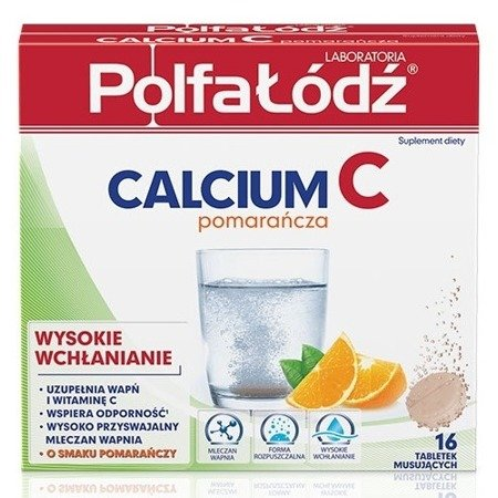 Calcium C - Wapno musujące POMARAŃCZOWE, 16 tabletek. (Polfa Łódź)