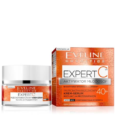 Eveline Expert C - Aktywator Młodości - Krem-Serum 40+ - Bioaktywa Witamina C; na dzień i noc, 50 ml.