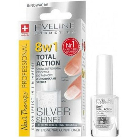 Eveline Nail Therapy Professional - ODŻYWKA do paznokci super-skoncentrowana z drobinkami Srebra, 8w1, 12 ml.
