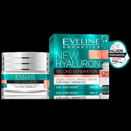 Eveline - NewHyaluron4D 30+ - KREM ultranawilżający na pierwsze zmarszczki, SPF-8, 50 ml.