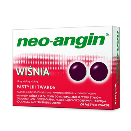 Neo-Angin - WIŚNIA, 24 pastylki do ssania.