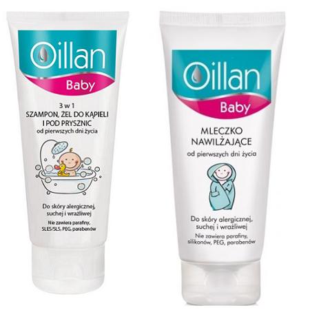 Oillan - Baby, Mleczko Nawilżające + Szampon, Żel do kąpieli i pod prysznic 3 w 1, 2 x 200 m. ZESTAW
