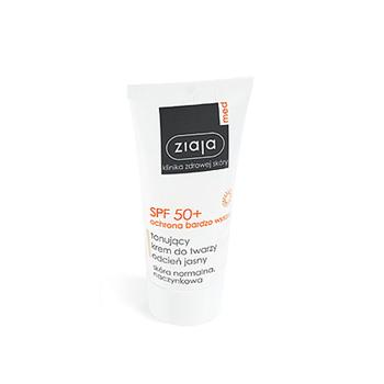 Ziaja MED - Ochrona SPF 50+ - KREM tonujący, odcień jasny, 50 ml.